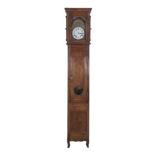 French Provincial Fruit Wood Clock, Circa 1820 For Sale