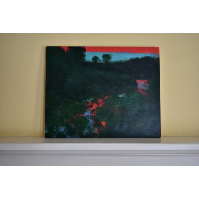 "Blue 2010s Abstract Painting, ""Sunset over the Mad River"" by Stephen Remick For Sale - Image 8 of 10"