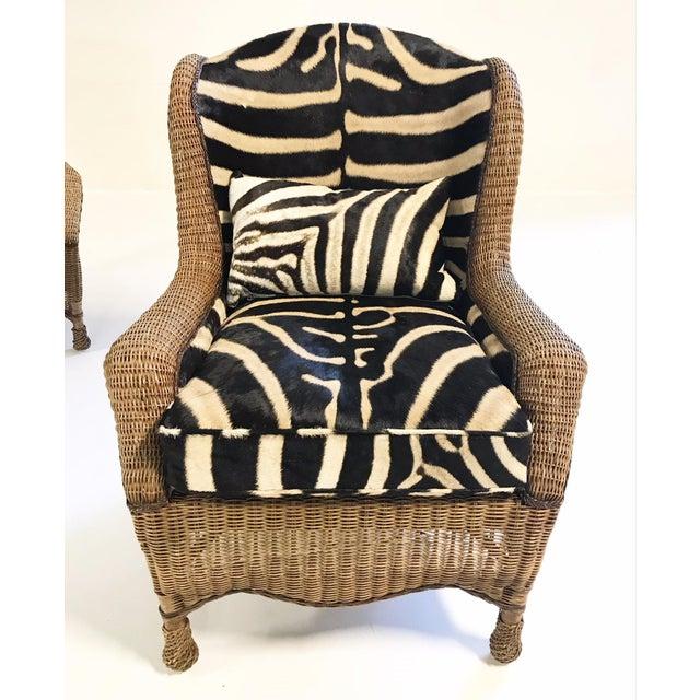 Vintage Ralph Lauren Wicker Wingback Chairs Restored in Zebra Hide - Pair For Sale - Image 9 of 12