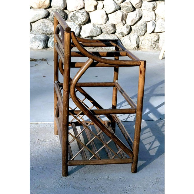 Rustic 1970's Boho Chic 3 Tiered Counter Height Thick Rattan Etagere For Sale - Image 3 of 6