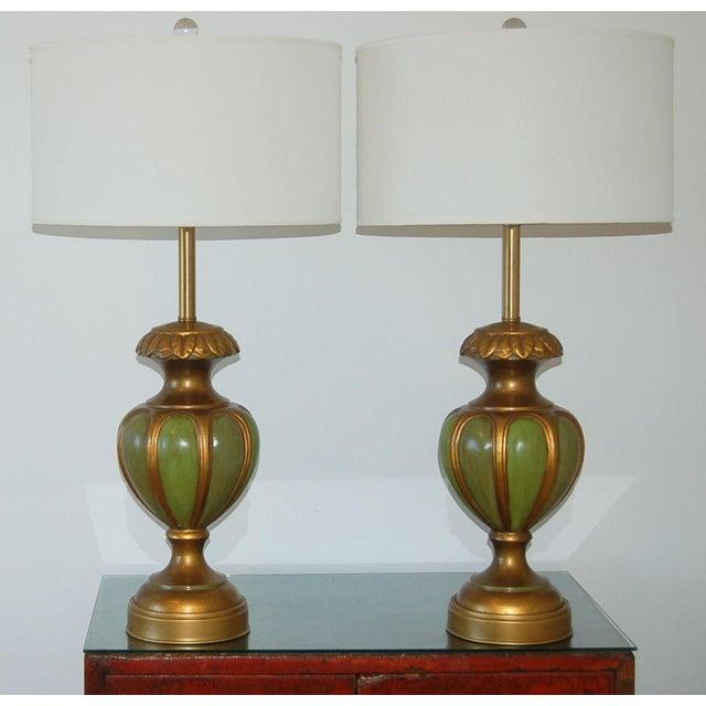 Italian Marbro Italian Ceramic Table Lamps Green For Sale - Image 3 of 10