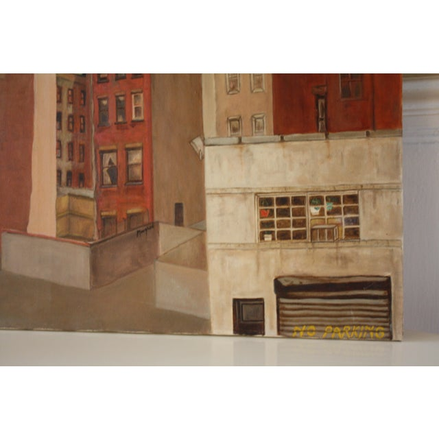 Contemporary Vintage Cityscape Acrylic Painting on Canvas For Sale - Image 3 of 7