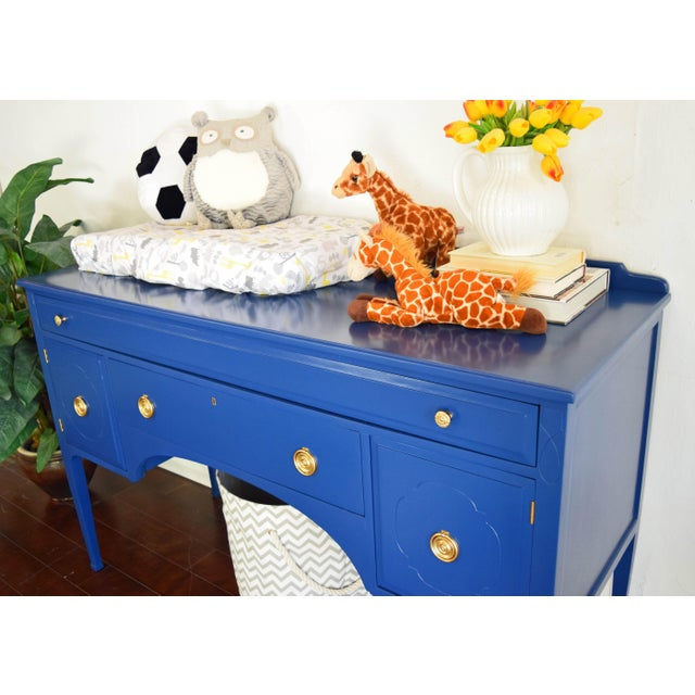 Blue Antique Cherrywood Navy Blue Buffet For Sale - Image 8 of 12