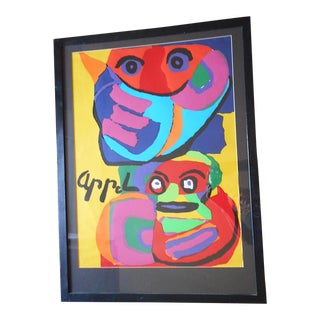Vintage Mid 20th C. Modernist Abstract Lithograph-Karel Appel For Sale
