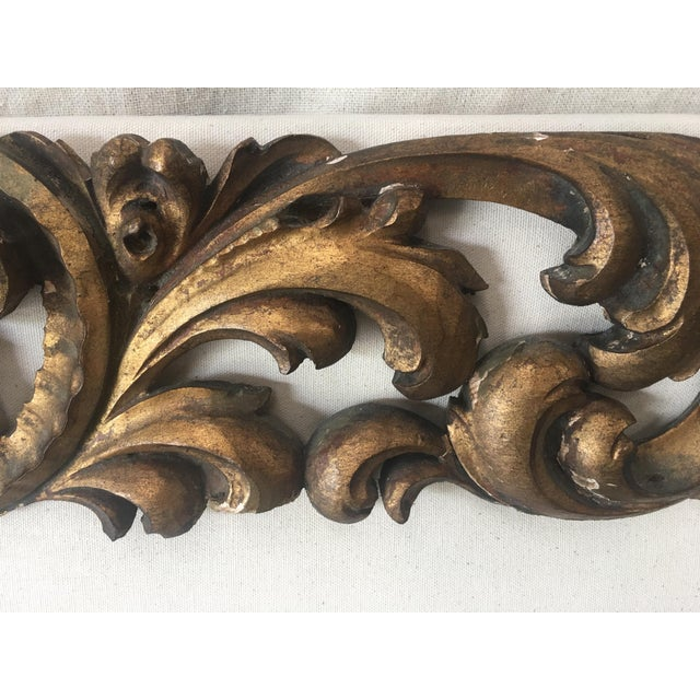 Italian Upholstered Headboard With 19th C Gilt Fragment Accents For Sale - Image 9 of 11