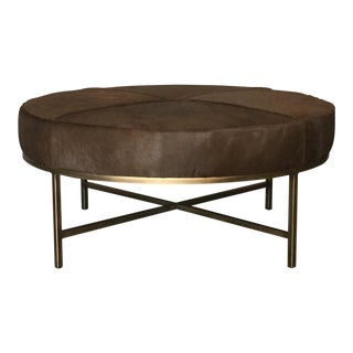 Medium 'Tambour' Antiqued Brass and Hide Ottoman by Design Frères For Sale