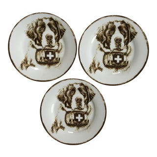 Late 20th Century Vintage Pottery Barn Saint Bernard Rescue Dog Plates - Set of 3 For Sale