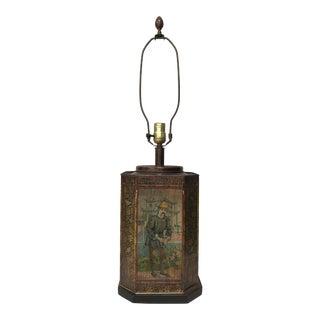 Mid-Century Octagonal Asian Tea Tin Canister Lamp For Sale