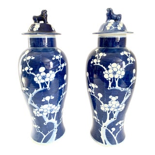 Chinese Blue and White Covered Ginger Jars - a Pair For Sale