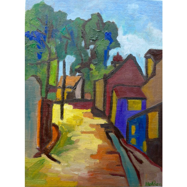French Village Oil Painting - Image 1 of 3