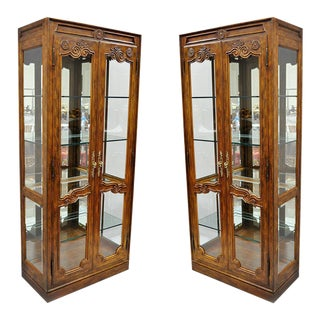 20th Century French Provincial Drexel Heritage Lighted Curio China Cabinet Display Case For Sale