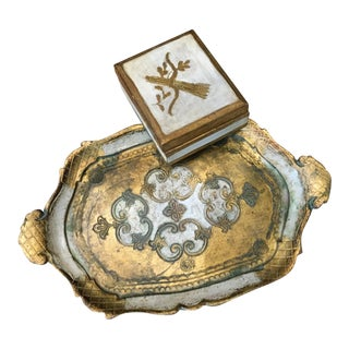 Italian Venetian Gold and White Box & Tray Set