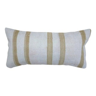 1960s Vintage Cream and Tan Kilim Lumbar Pillow For Sale