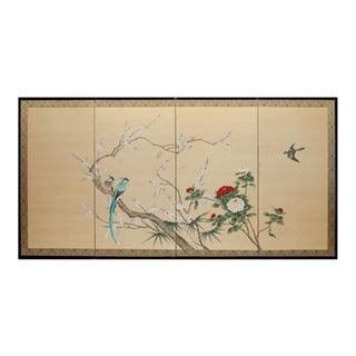 C. 1920s Paradise Birds and Chrysanthemums Chinese Silk Screen For Sale