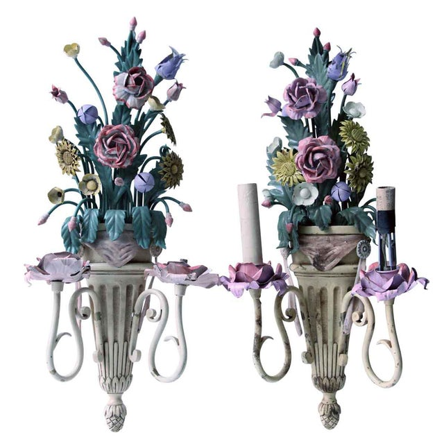 Vintage Mid-Century Italian Floral Metal Sconces - A Pair For Sale - Image 13 of 13