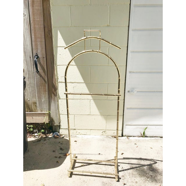 1970s Regency Style Brass Bamboo Standing Valet For Sale - Image 5 of 5