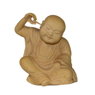 Artist Crafter Solid Light Wood Color Meditate Arhat Monk Statue Digging Ear For Sale