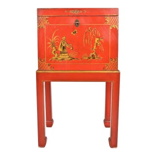 Chinoiserie Box on Stand For Sale