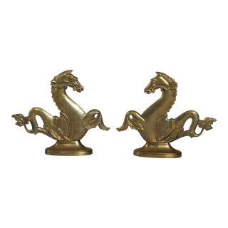 Italian Brass Hippocampus Bookends - a Pair For Sale
