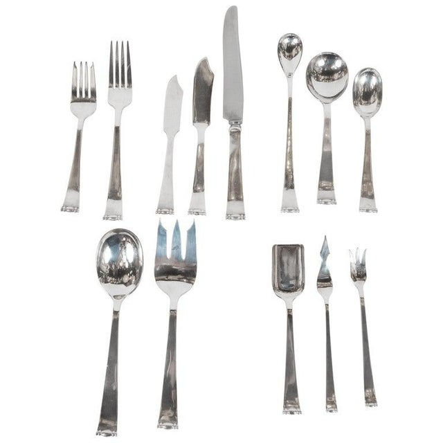 Allan Adler Sterling Sliver Modern Georgian Hand Wrought Flatware Service for 24 For Sale - Image 13 of 13