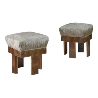 Pair of Art Deco Maple and Nutwood Ottomans, Italy, 1920s For Sale