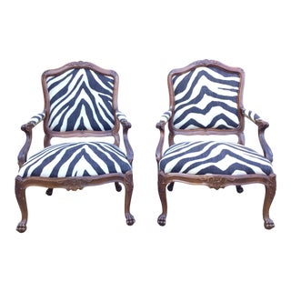 Large Pair of 19th Century Carved Ralph Lauren Upholstered Fauteuils For Sale