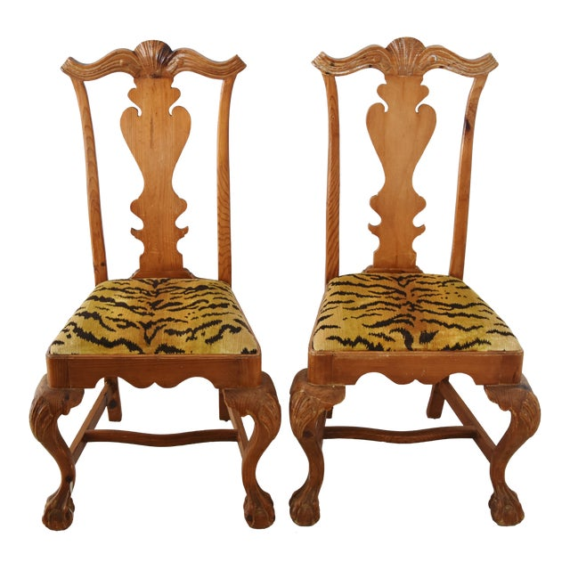 Italian Scalamandre Le Tigre (Tiger) Velvet Side Chairs - Pair For Sale