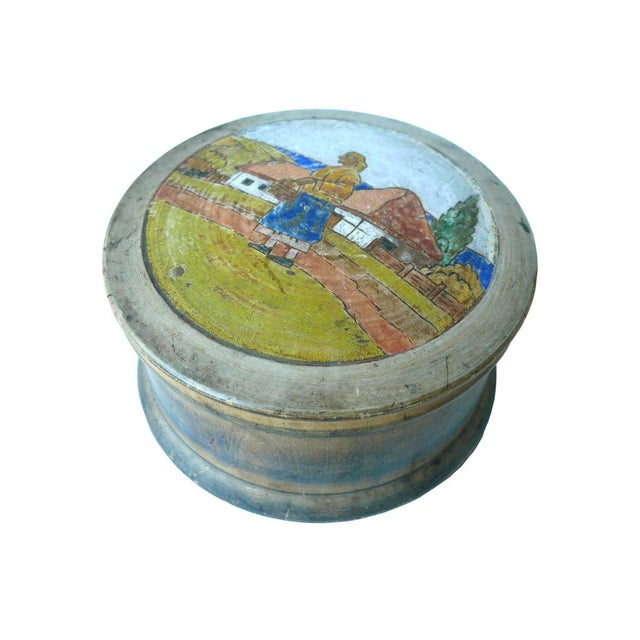 Sugar Container With Painted Pastoral Scene - Image 1 of 4
