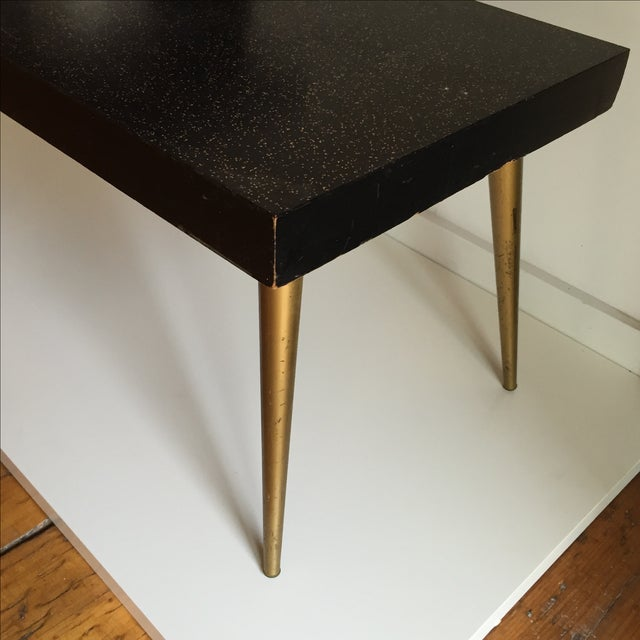 Black Mid-Century Black & Gold Starburst Side Table For Sale - Image 8 of 9