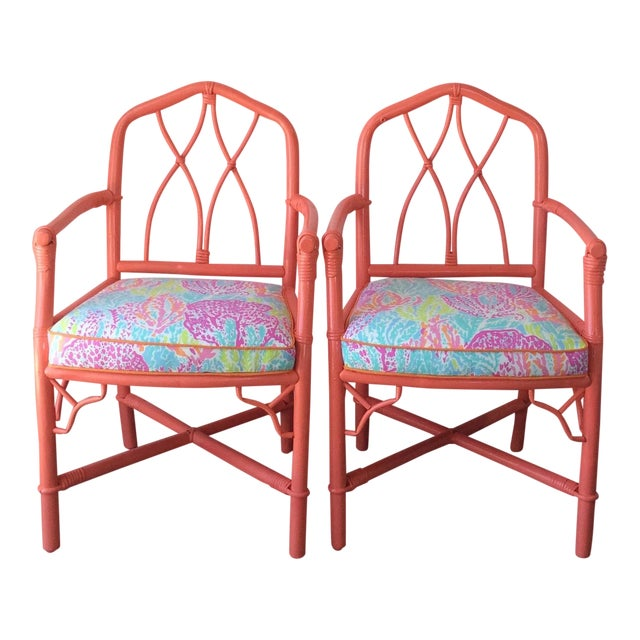 Vintage Ficks Reed Coral Bamboo Rattan Armchairs - a Pair For Sale