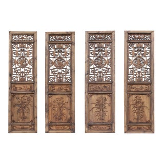 Set of 4 Vintage Chinese Eight Immortal Theme Wood Tall Panel Screen Divider For Sale