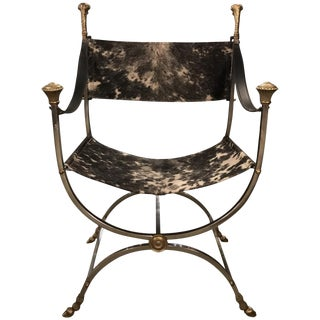Italian Maison Jansen Style Steel and Cowhide Dante Chair For Sale
