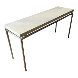 Made Goods Faux Shagreen Top Console Table For Sale