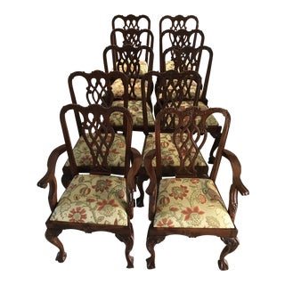 Ball and Claw Upholstered Dining Chairs - Set of 10 For Sale