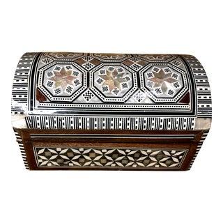 Half Circle Handmade Jewelry Box Inlaid Mother of Pearl Trinket Box For Sale