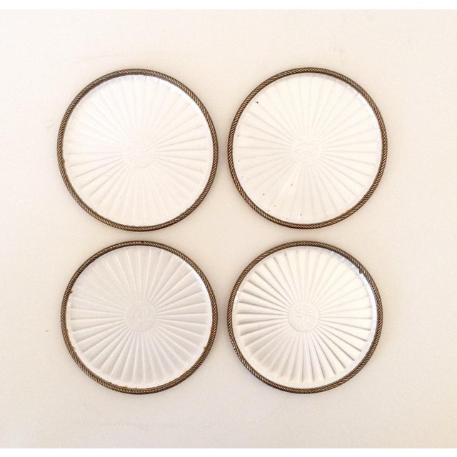 Mid-Century Modern Vintage Pearl White Enamel Coasters - Set of 4 For Sale - Image 3 of 5