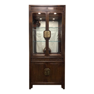 HENREDON Folio 16 Asian Chinoiserie Walnut Lighted Curio China Display Cabinet
