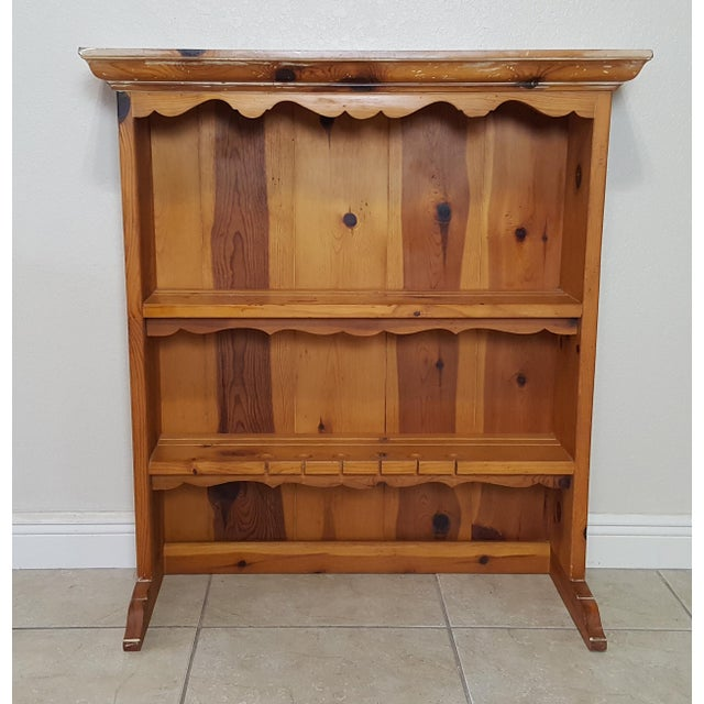 Rustic Style Pine China Hutch Sideboard With Spindles - 2 Pieces For Sale - Image 4 of 12