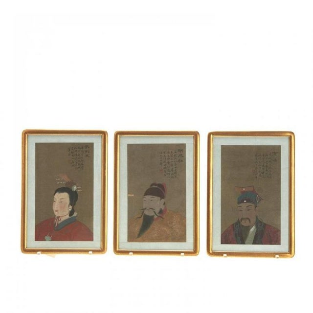 Set of antique Chinese ancestral portraits, 19th-20th century, pigment on silk, with inscriptions and red seal mark, upper...