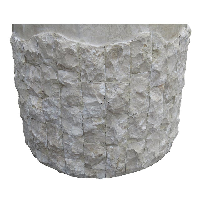 20th Century Vintage Marquis Collection of Beverly Hills Postmodern Tessellated Stone Pedestal / Pedestal Table Base For Sale - Image 9 of 13