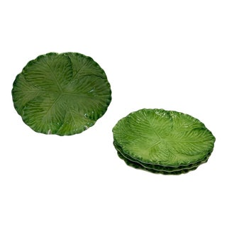 Made Goods Green Lettuce Majolica Italian Plates For Sale