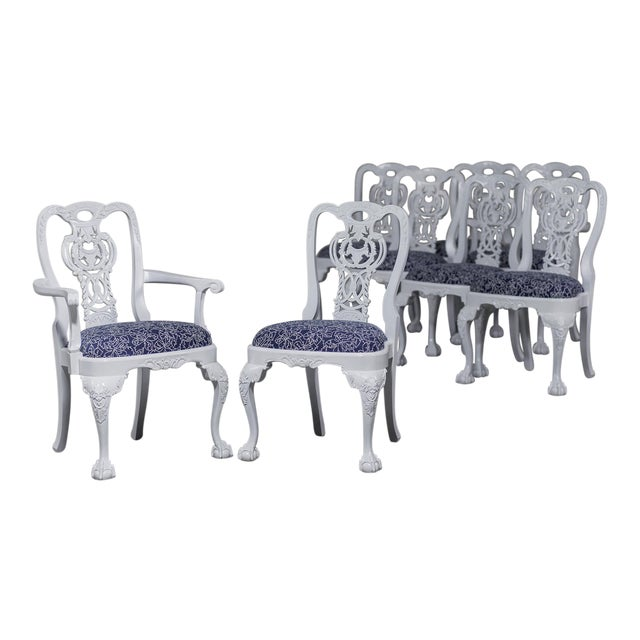 George III Chippendale Style Painted Dining Chairs - Set of 8 For Sale