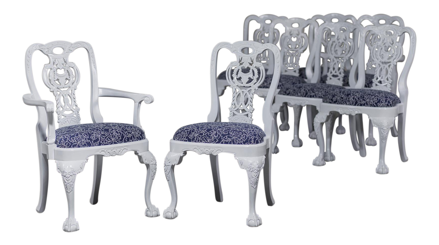 Set Eight George III Chippendale Style Painted Dining Chairs, Custom,  England   Image 1