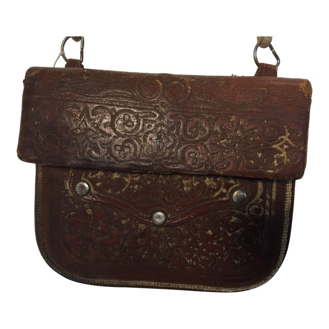Moroccan Berber Tribal Hand Tooled Leather Shoulder Bag For Sale