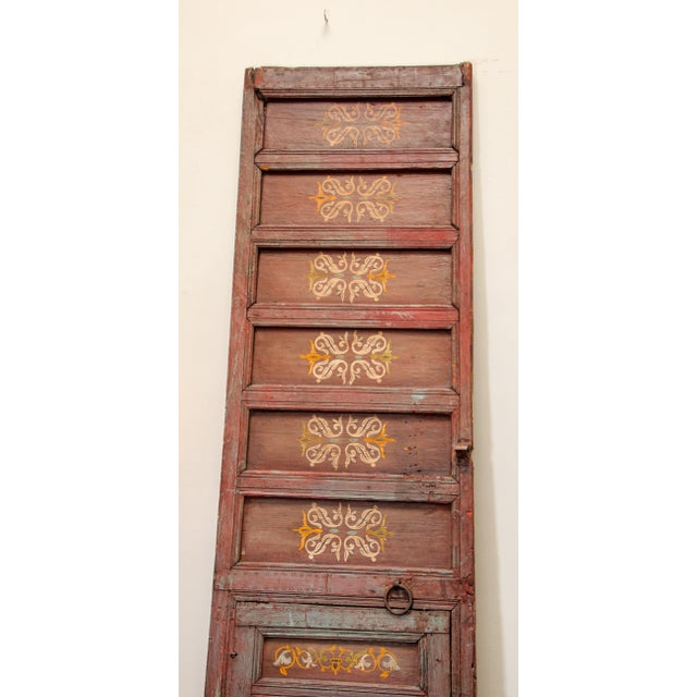 Islamic 19th Century Moroccan Antique Double Door With Hand Painted Moorish Designs For Sale - Image 3 of 13