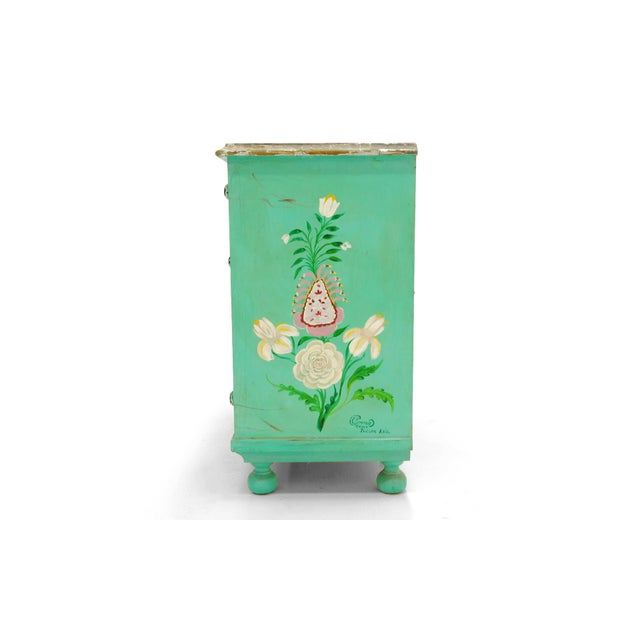 Wood Salvador Corona Hand Painted Cabinet, Mexico / Tucson, 1940s, Signed For Sale - Image 7 of 10