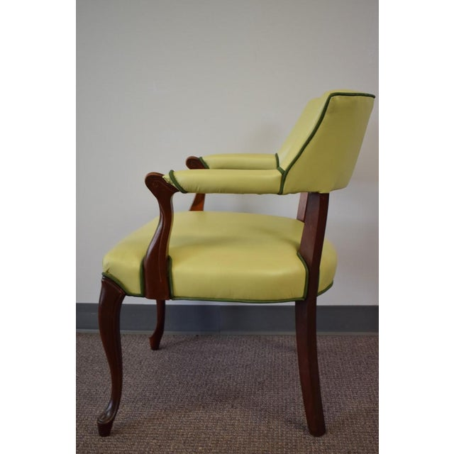 Elegant Set of (4) Celedon Green Leather W Hunter Green Piping Upholstered Bergere Chairs For Sale - Image 5 of 10