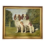 Image of Cavalier King Charles Spaniel Dogs Painting in the Style of Otto Eerelman For Sale