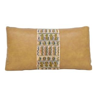 Vintage Mayan Tapestry Leather Lumbar Pillow