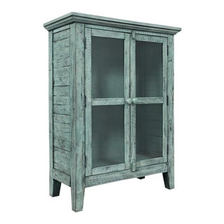 Rustic Vintage Distressed Blue Accent Cabinet